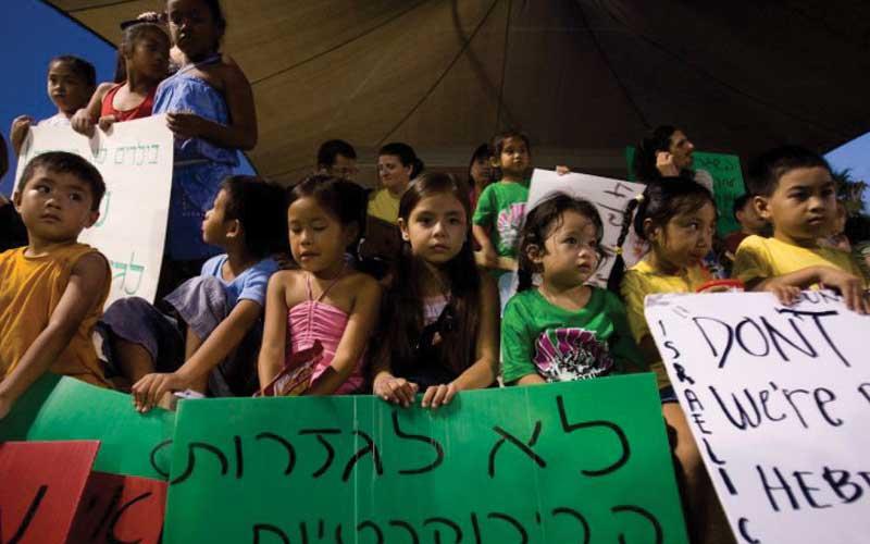 הפגנה נגד גירוש ילדי העובדים הזרים לפני כארבע שנים. צילום דודו בכר