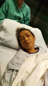"""לריסה הרוש בבית החולים בארה""""ב"""