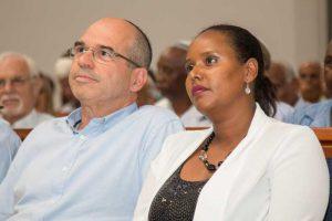 פנינה תמאנו שאטה וראש העיר בטקס חנוכת מרכז מורשת יהדות אתיופיה