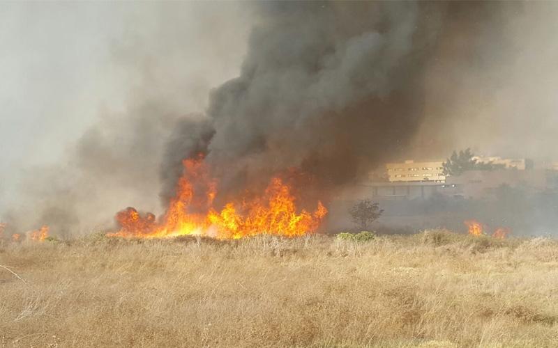 שריפה סמוך לאזור התעשייה סגולה. באדיבות איחוד הצלה