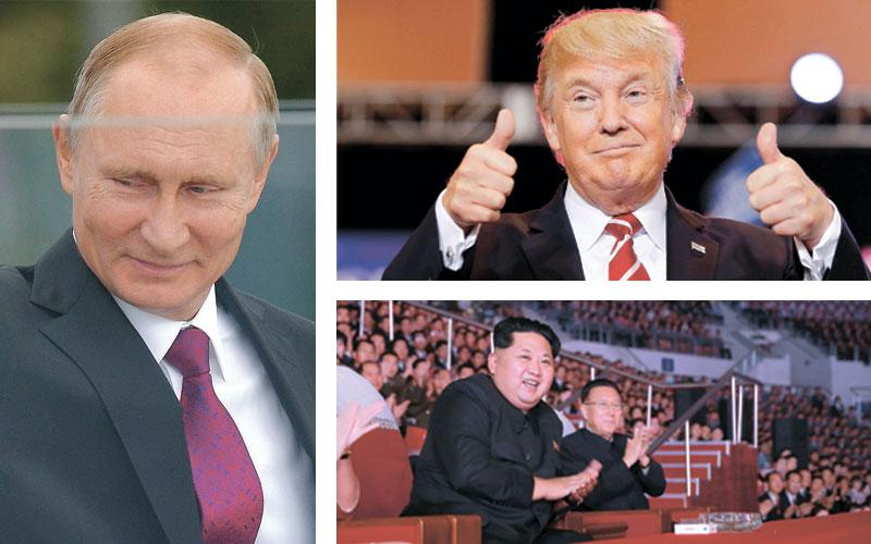 דונאלד טראמפ, קים ג'ון און, ולדימיר פוטין. צילומים אי-פי, רויטרס