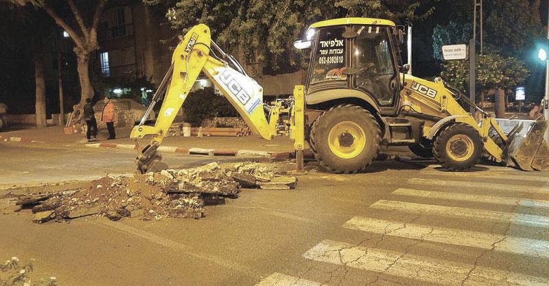 עבודות מיתב ברחוב סלנט. צילום באדיבות התושבים