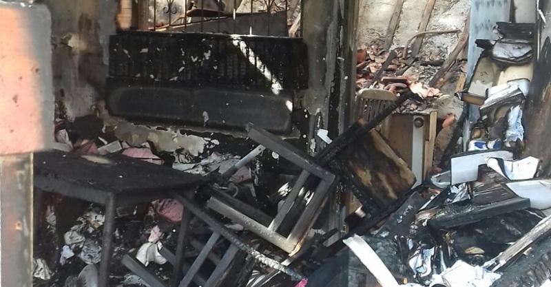 השריפה בבית ברחוב המוביל בראש העין. צילום באדיבות המשפחה