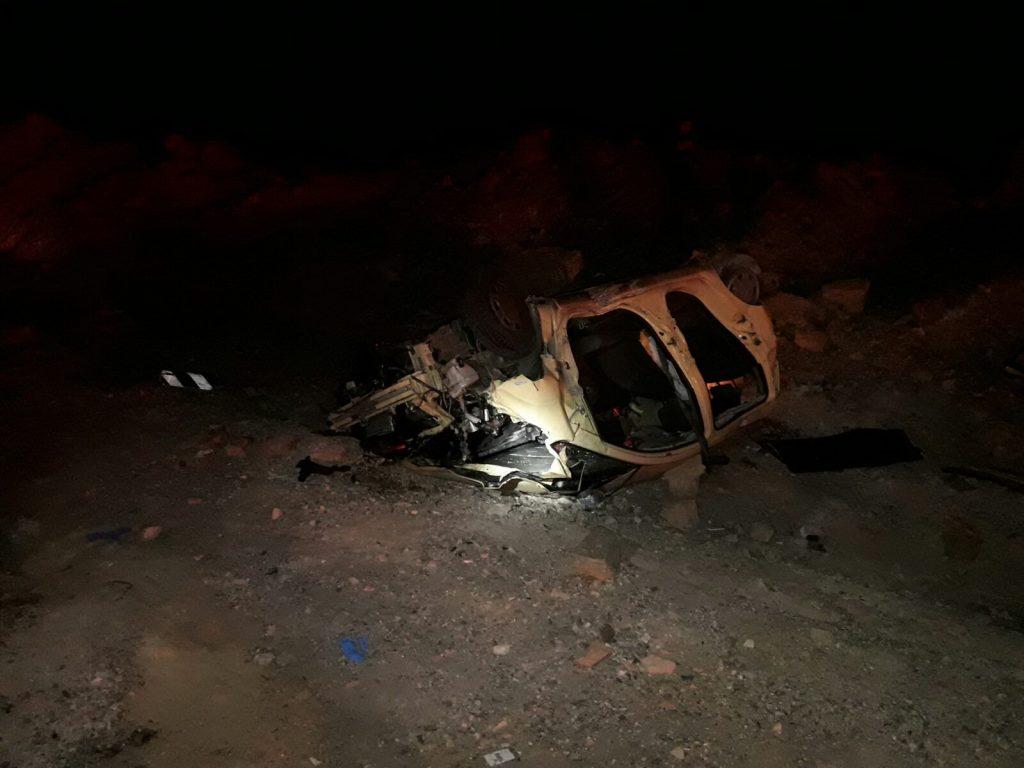 """הרכב אחרי התאונה בערבה. צילום דוברות מד""""א"""