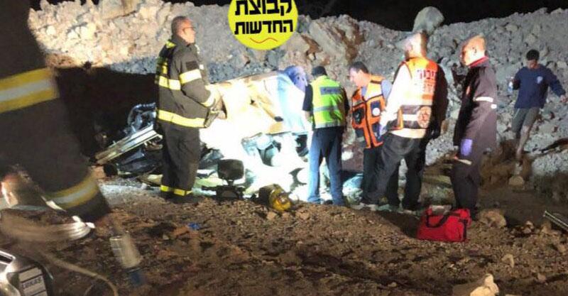 זירת התאונה בכביש הערבה. צילום קבוצת החדשות