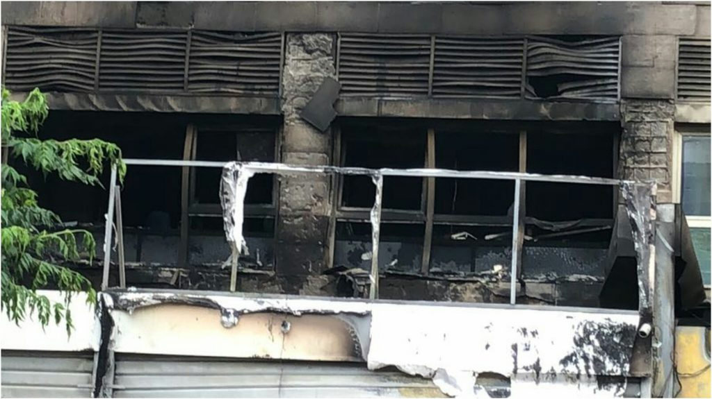 החנות שנשרפה ברחוב חובבי ציון צילום באדיבות הכבאות