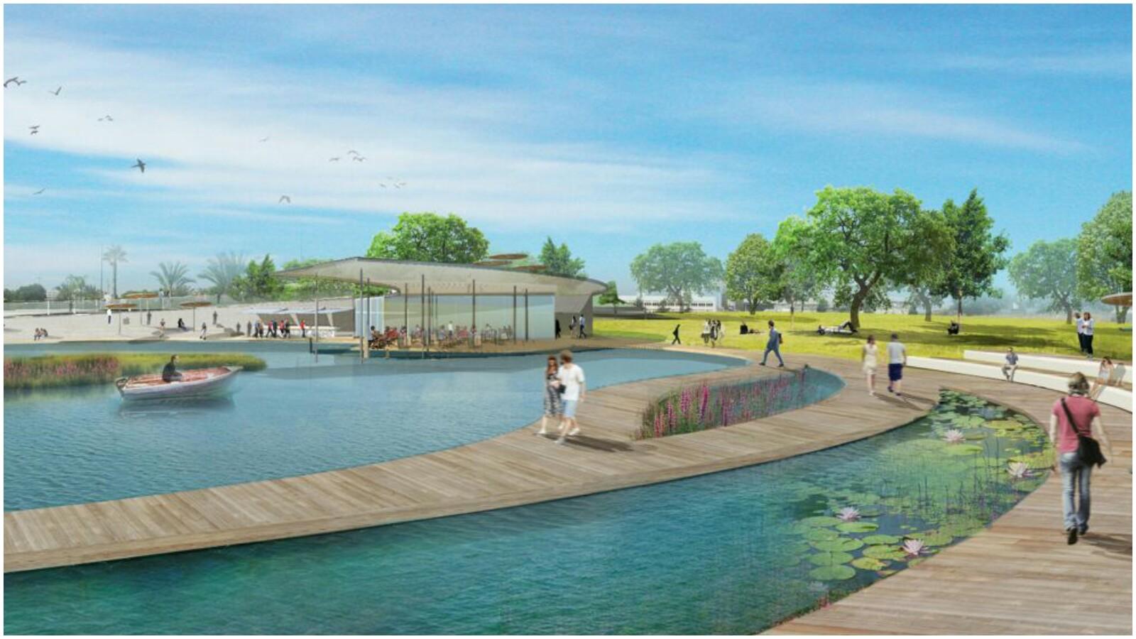 הדמייה של האגם האקלוגי באדיבות משרד מייזליץ כסיף אדריכלים
