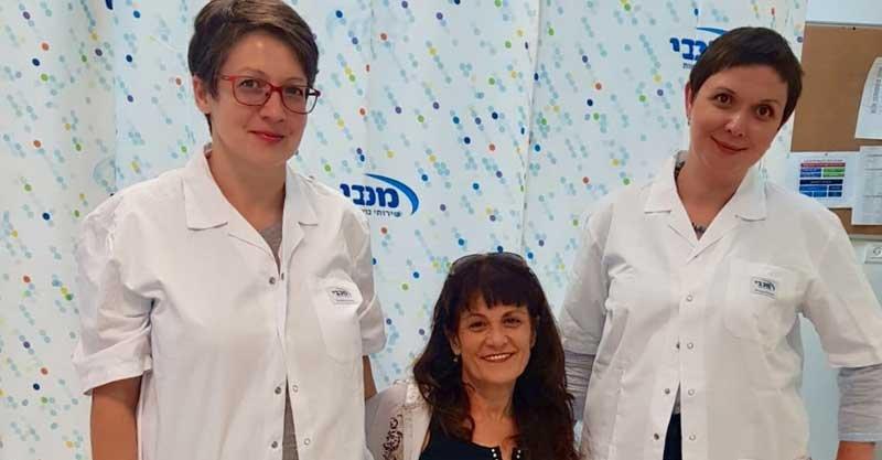 מימין לשמאל אנסטסיה ברוק שושי לוי וגרטה קאופמן (לירון) צילום מכבי שירותי בריאות