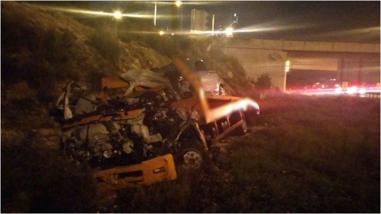 """פיצוץ משאית בכביש 5. צילום: תיעוד מבצעי מד""""א"""