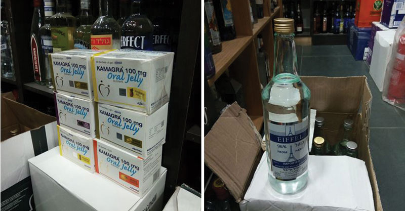 הויאגרה והמשקאות המזוייפים שנתפסו אצל רונן משקאות