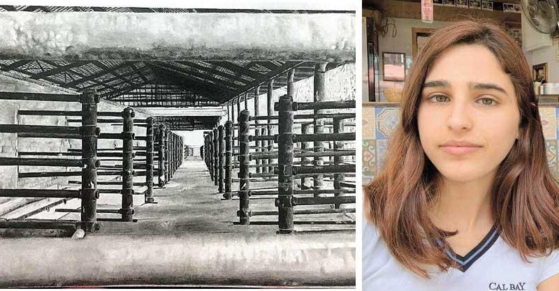 יובל נקר ואחת העבודות שלה. צילומים פרטי