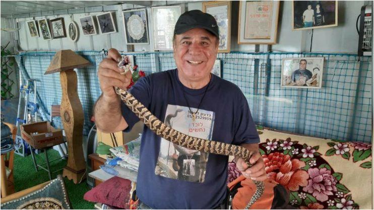 גדעון דעבול והנחשים. צילום באדיבות דעבול