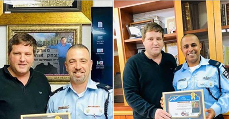 """מימין רסב דודו שיראוי וראש העירייה רמי גרינברג, משמאל רס""""ב אסף בנו וגרינברג. צילום מיזם 100"""