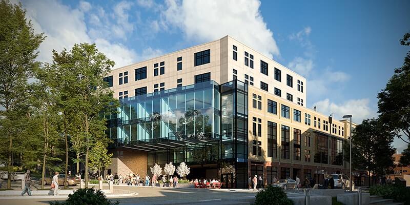 מעונות סטודנטים בשילוב שטח מסחרי בעיר אית'קה שבמדינת ניו יורק, ארה''ב (צילום: טריפל די הדמיות)