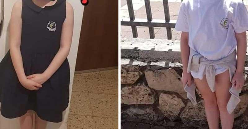 התלמידה כפי שהגיעה וכפי שהולבשה לאחר מכן צילום מדף הפייסבוק של האם
