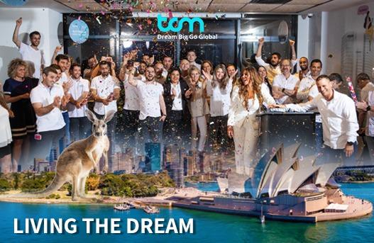 """גבריאל בר שני: """"נדל""""ן דיגיטלי בהישג ידיך - עתיד ענף הסחר"""". בתמונה: צוות TCM חוגג את החתימה על הסכם ההנפקה בבורסה האוסטרלית. צילום: יואב אלון"""
