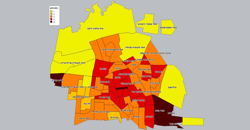 מפת רמת הסיכון של השכונות בפתח תקוה באדיבות חברת פוינטס
