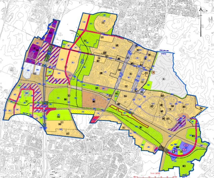 תשריט ייעודי הקרקע על פי תכנית המתאר (אתר משרד האוצר, תכנון זמין)