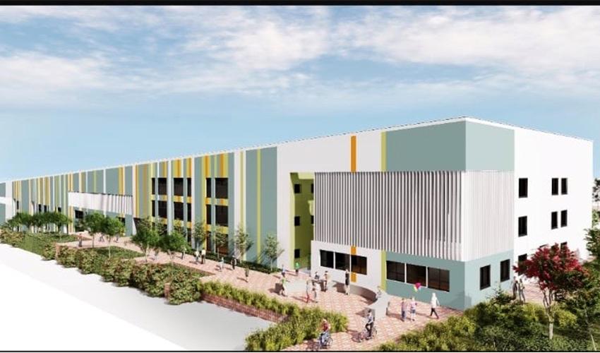 הדמיית בית ספר משה ארנסהקבלן בוני ריינה, האדריכל אברהם קוריאל, הדמייה באדיבות העירייה